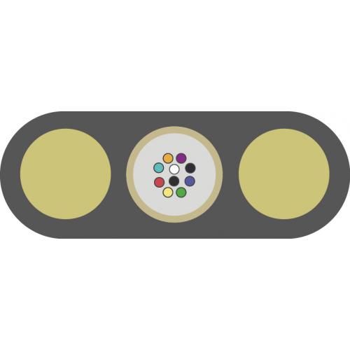 Оптический кабель ОК/Д2-Т-А8-1.2, подвесной плоский, диэлектрический, центральная трубка, 8 ОВ, 1,2 кН