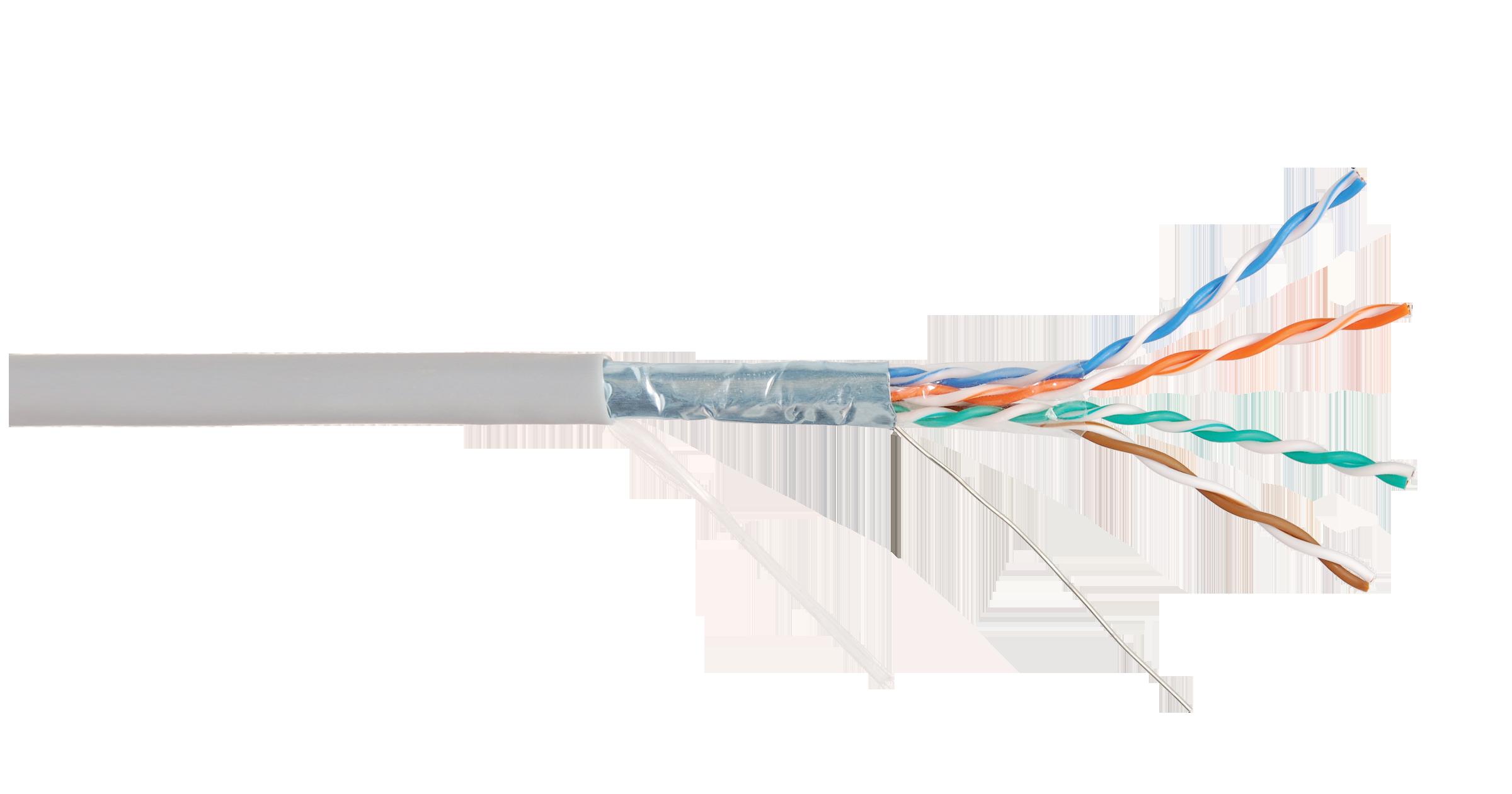 Кабель NIKOLAN F/UTP 4 пары, Кат.5e (Класс D), тест по ISO/IEC, 100МГц, одножильный, BC (чистая медь), 24AWG (0,50мм), внутренний, PVC нг(А), серый, 305м - гарантия: 1 год / 10 лет системная