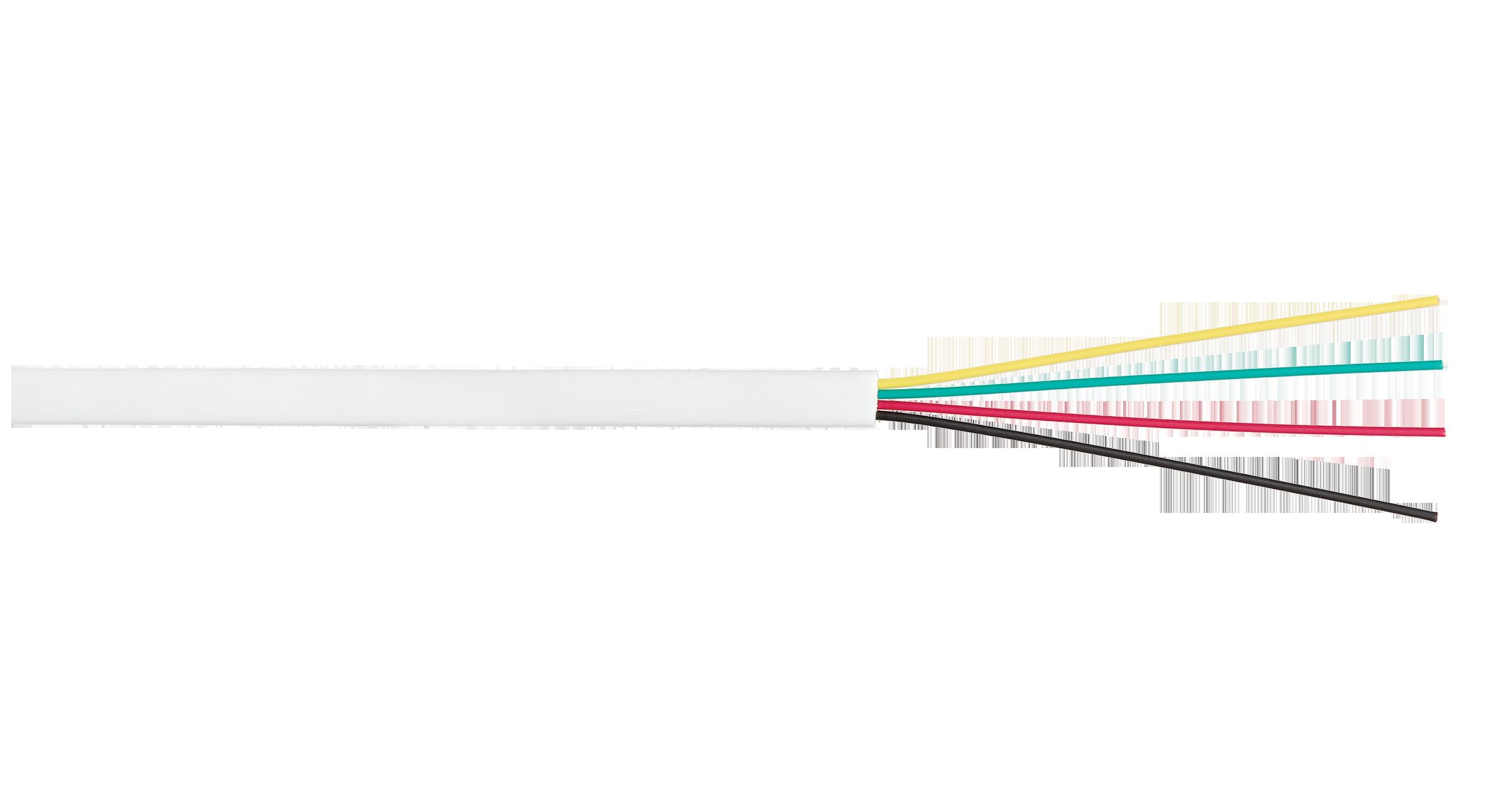Кабель NIKOLAN телефонный, плоский, 4 многожильных проводника, BC (чистая медь), 26AWG (7х0,16мм), внутренний, PVC, белый, 100м - гарантия: 1 год