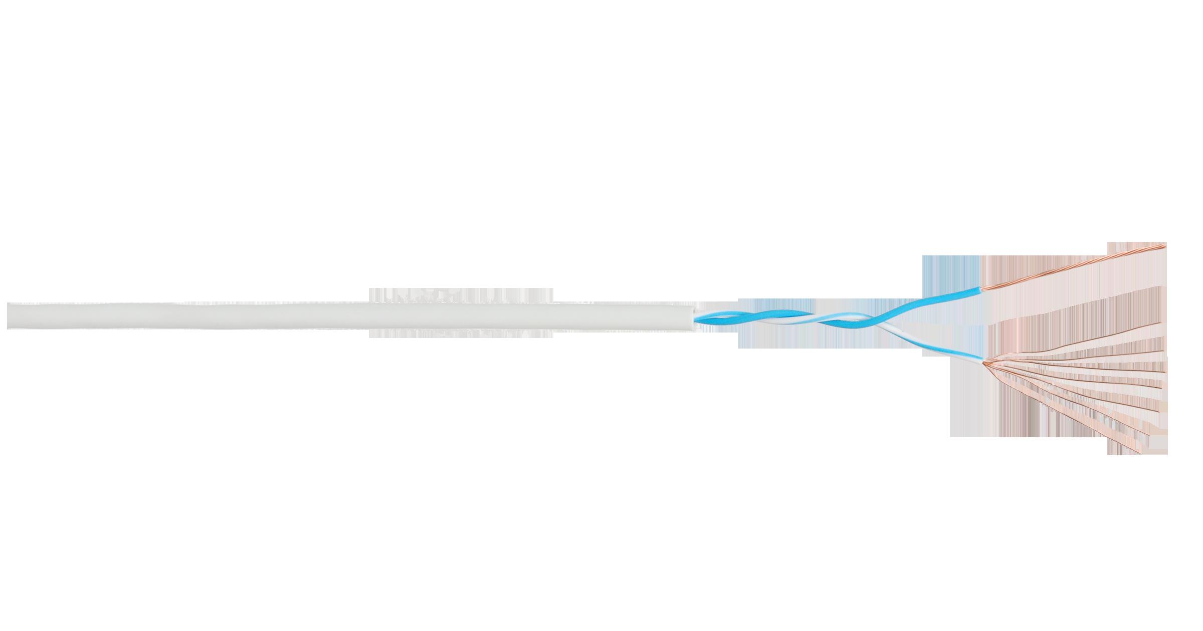 Кабель NIKOLAN U/UTP 1 пара, Кат.3 (Класс С), 16МГц, многожильный, BC (чистая медь), 24AWG (7х0,192мм), внутренний, PVC нг(А), светло-серый, 305м - гарантия: 1 год