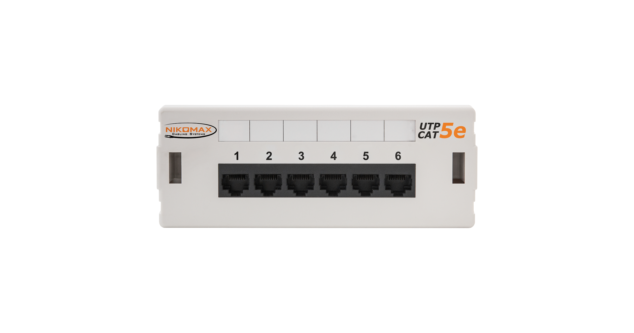 Коммутационная панель NIKOMAX настенная, 6 портов, Кат.5е (Класс D), 100МГц, RJ45/8P8C, 110, T568A/B, неэкранированная, светло-серая - гарантия: 5 лет расширенная / 25 лет системная