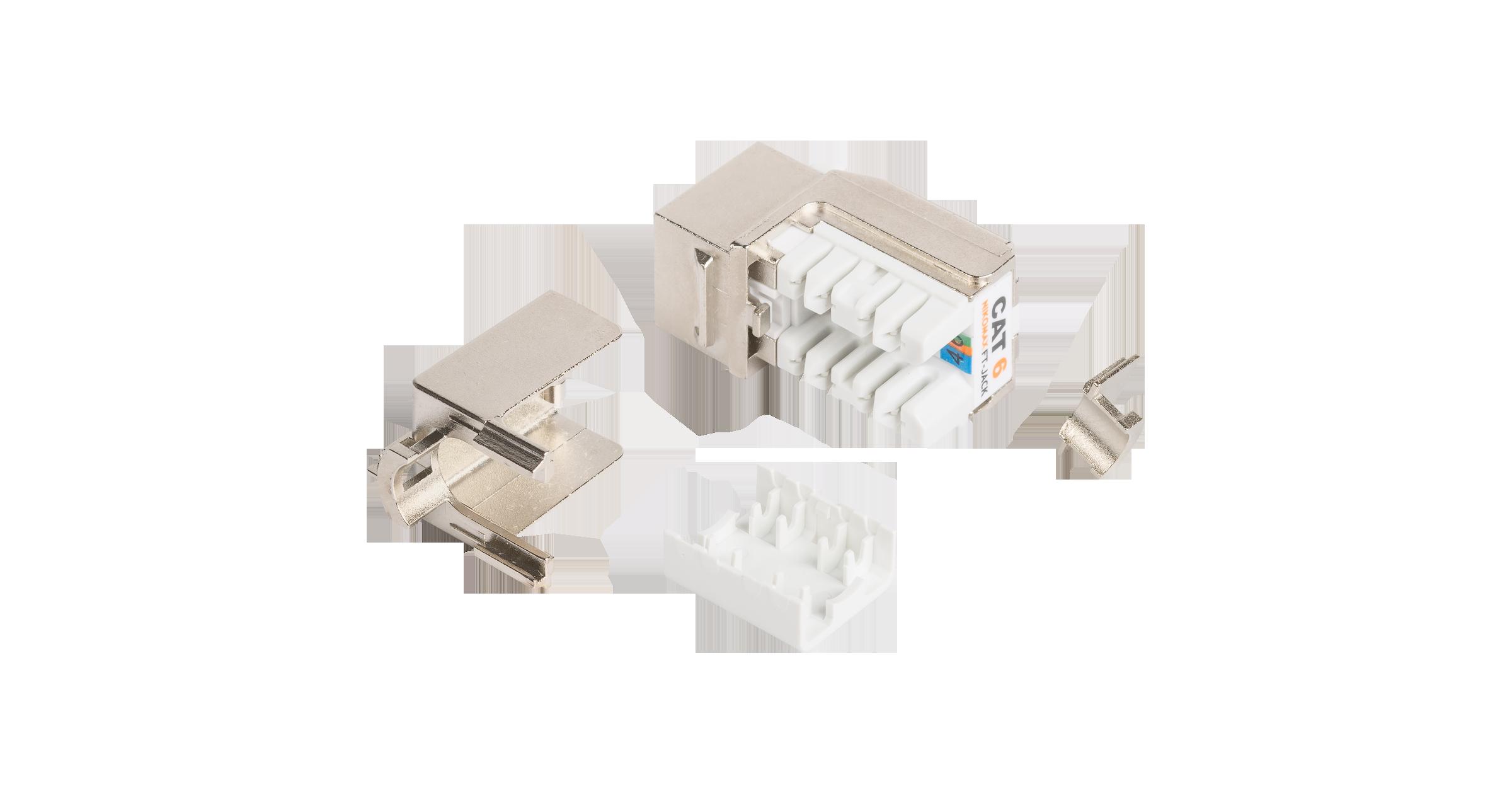 Модуль-вставка NIKOMAX типа Keystone, Кат.6 (Класс E), 250МГц, RJ45/8P8C, FT-TOOL/110/KRONE, T568A/B, полный экран, металлик - гарантия: 5 лет расширенная / 25 лет системная