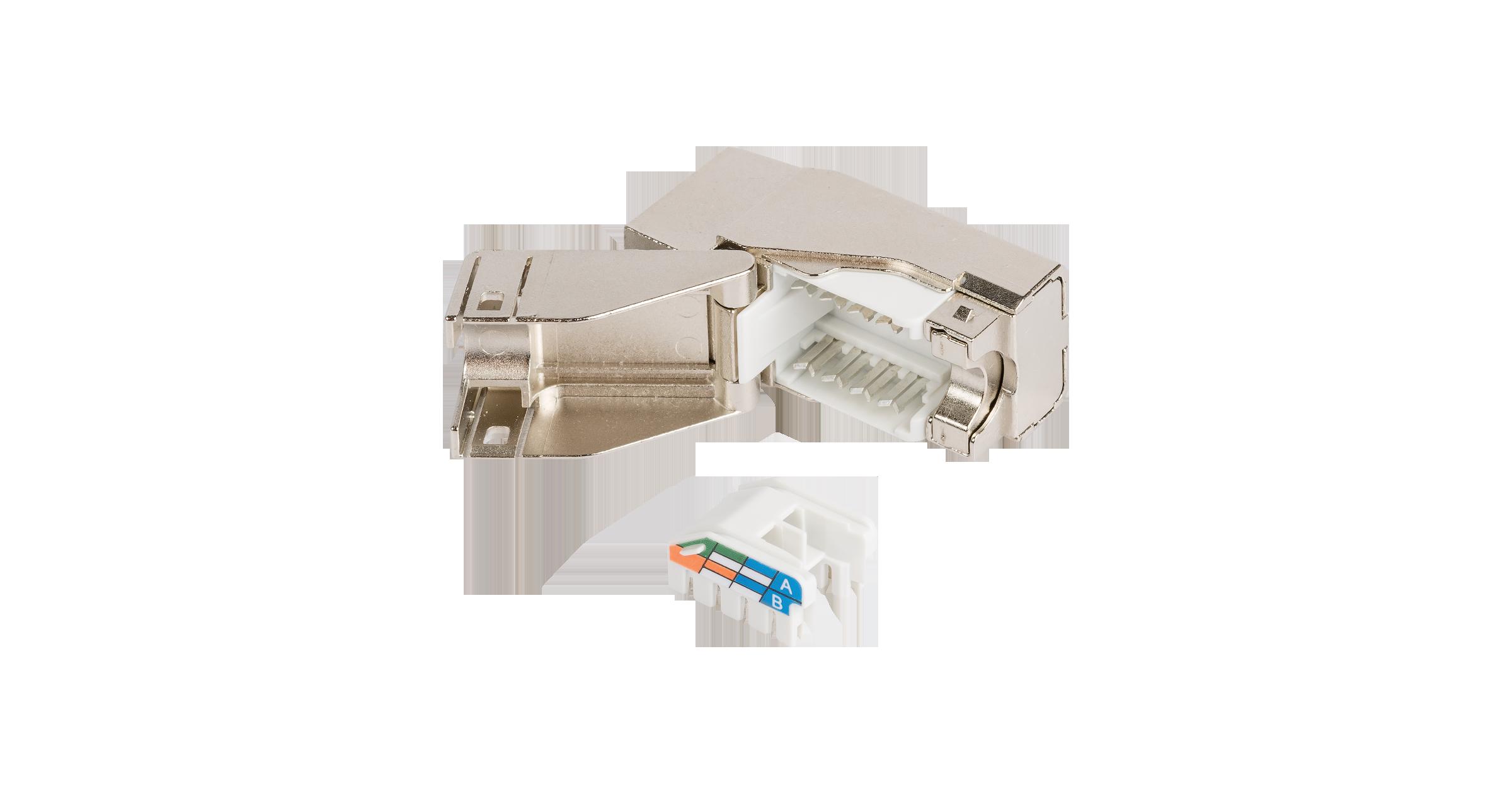 Модуль-вставка NIKOMAX типа Keystone, Кат.5е (Класс D), 100МГц, RJ45/8P8C, самозажимной, T568A/B, полный экран, металлик - гарантия: 5 лет расширенная / 25 лет системная