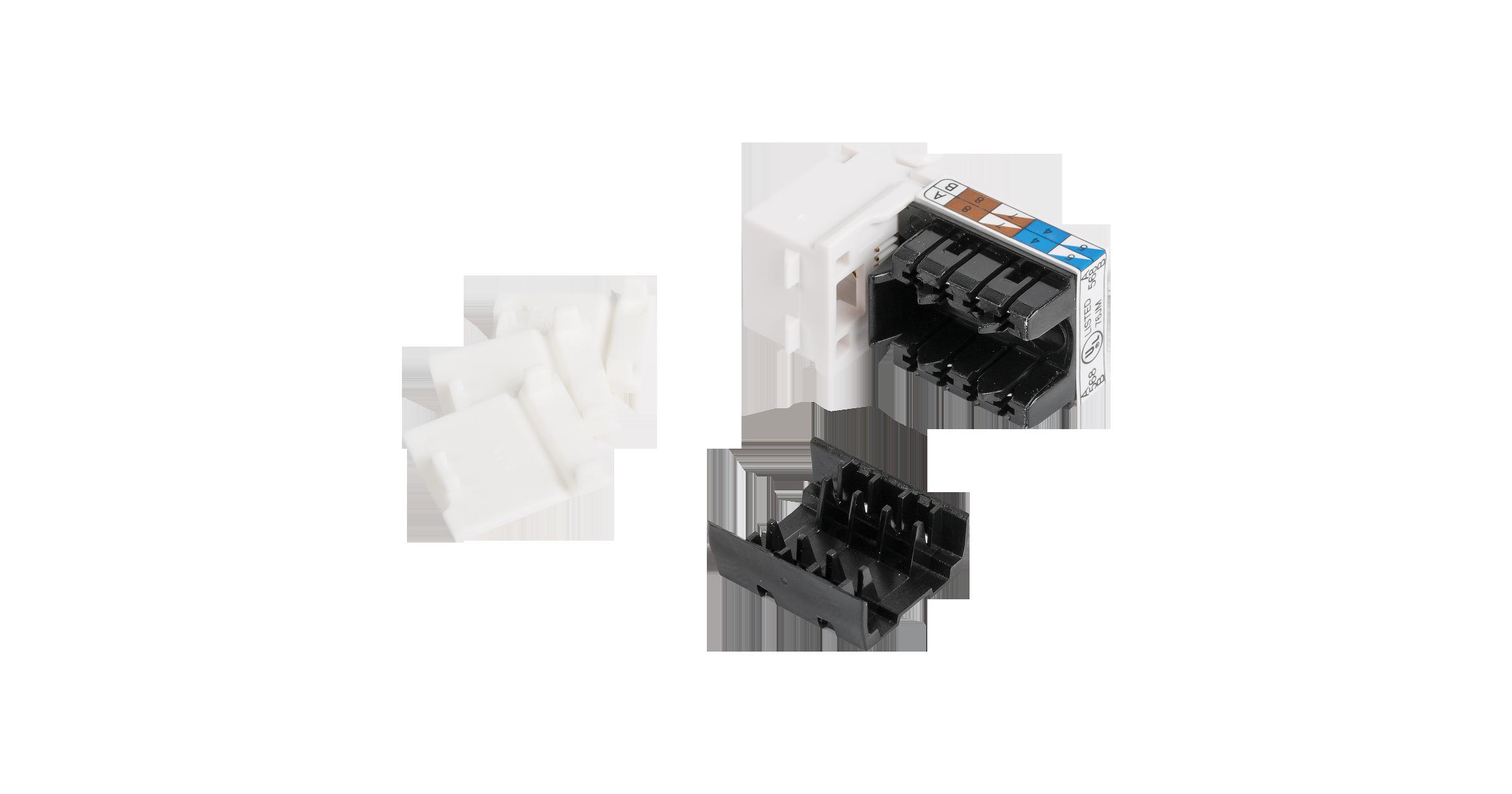 Модуль-вставка NIKOMAX типа Keystone, Кат.6 (Класс E), 250МГц, RJ45/8P8C, 110/KRONE, T568A/B, неэкранированный, белый - гарантия: 5 лет расширенная / 25 лет системная
