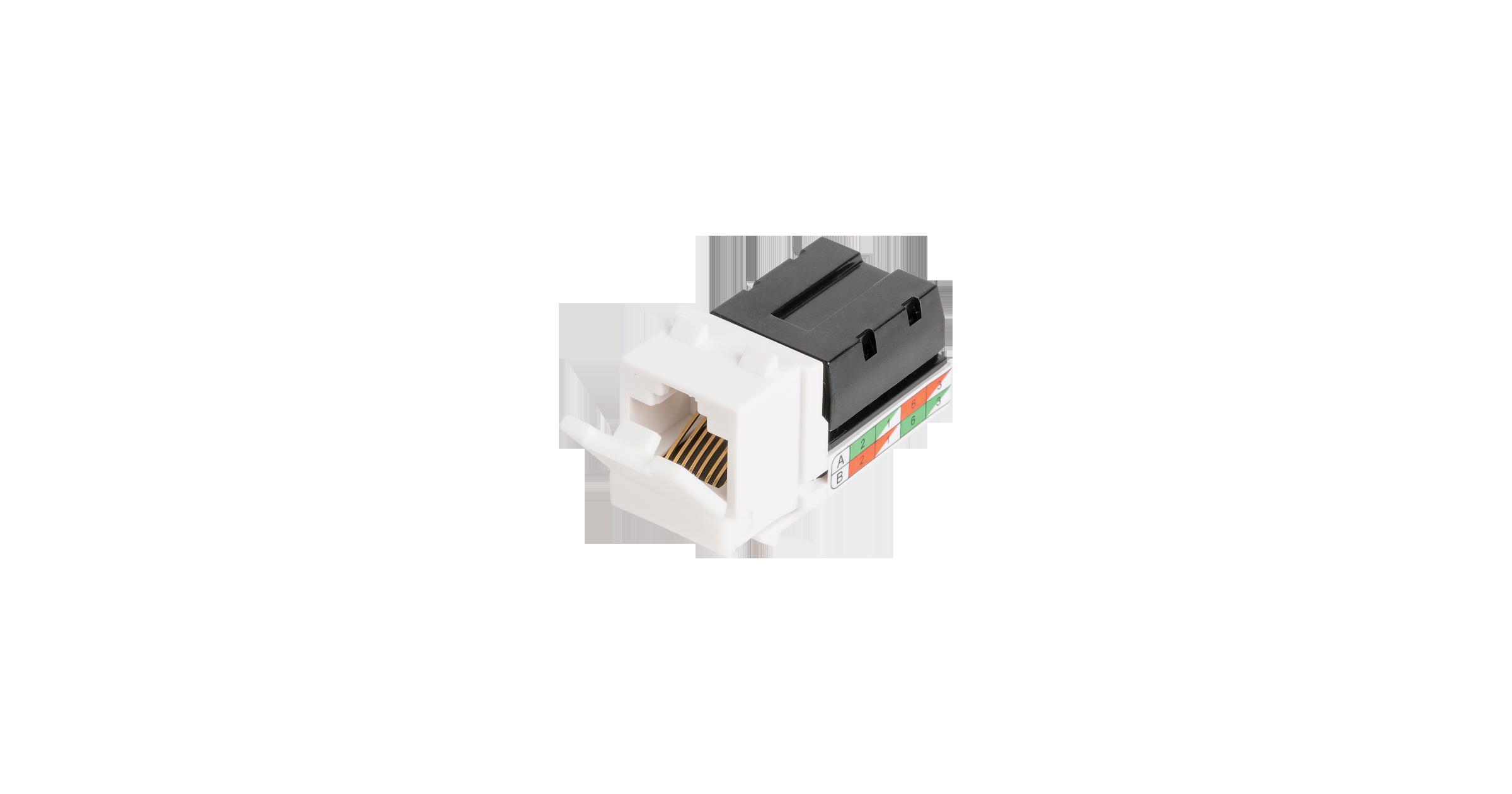 Модуль-вставка NIKOMAX типа Keystone, Кат.5е (Класс D), 100МГц, RJ45/8P8C, 110/KRONE, T568A/B, неэкранированный, белый - гарантия: 5 лет расширенная / 25 лет системная