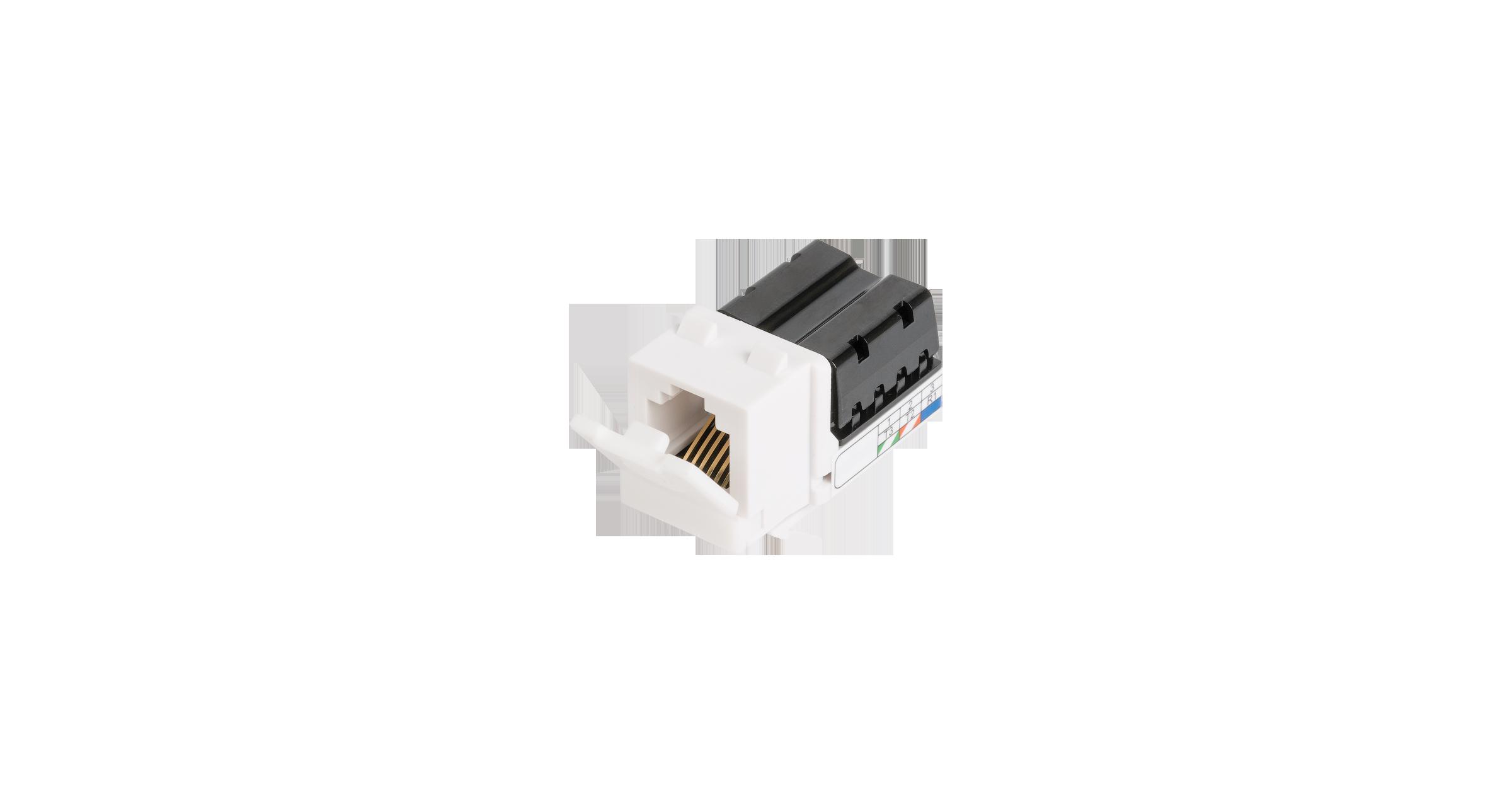 Модуль-вставка NIKOMAX типа Keystone, Кат.3 (Класс C), 16МГц, RJ12/6P6C, 110/KRONE, USOC, неэкранированный, белый