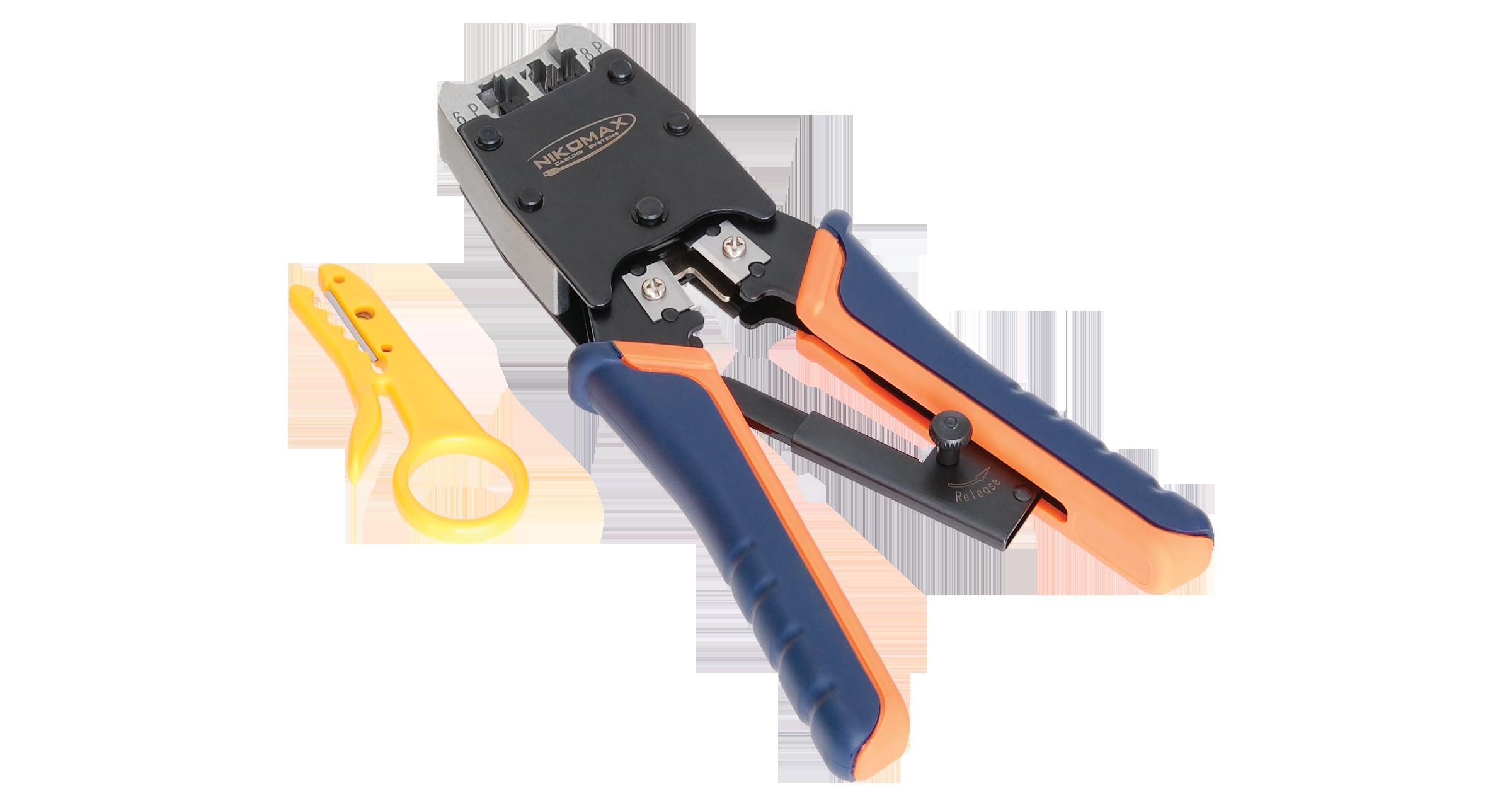 Инструмент NIKOMAX обжимной профессиональный, 2 гнезда, торцевой, с храповиком, совместим с коннекторами: RJ45/8P8C, RJ12/6P6C, RJ11/6P4C