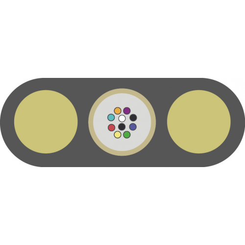 Оптический кабель ОК/Д2-Т-А4-1.0, подвесной плоский, диэлектрический, центральная трубка, 4 ОВ, 1,0 кН