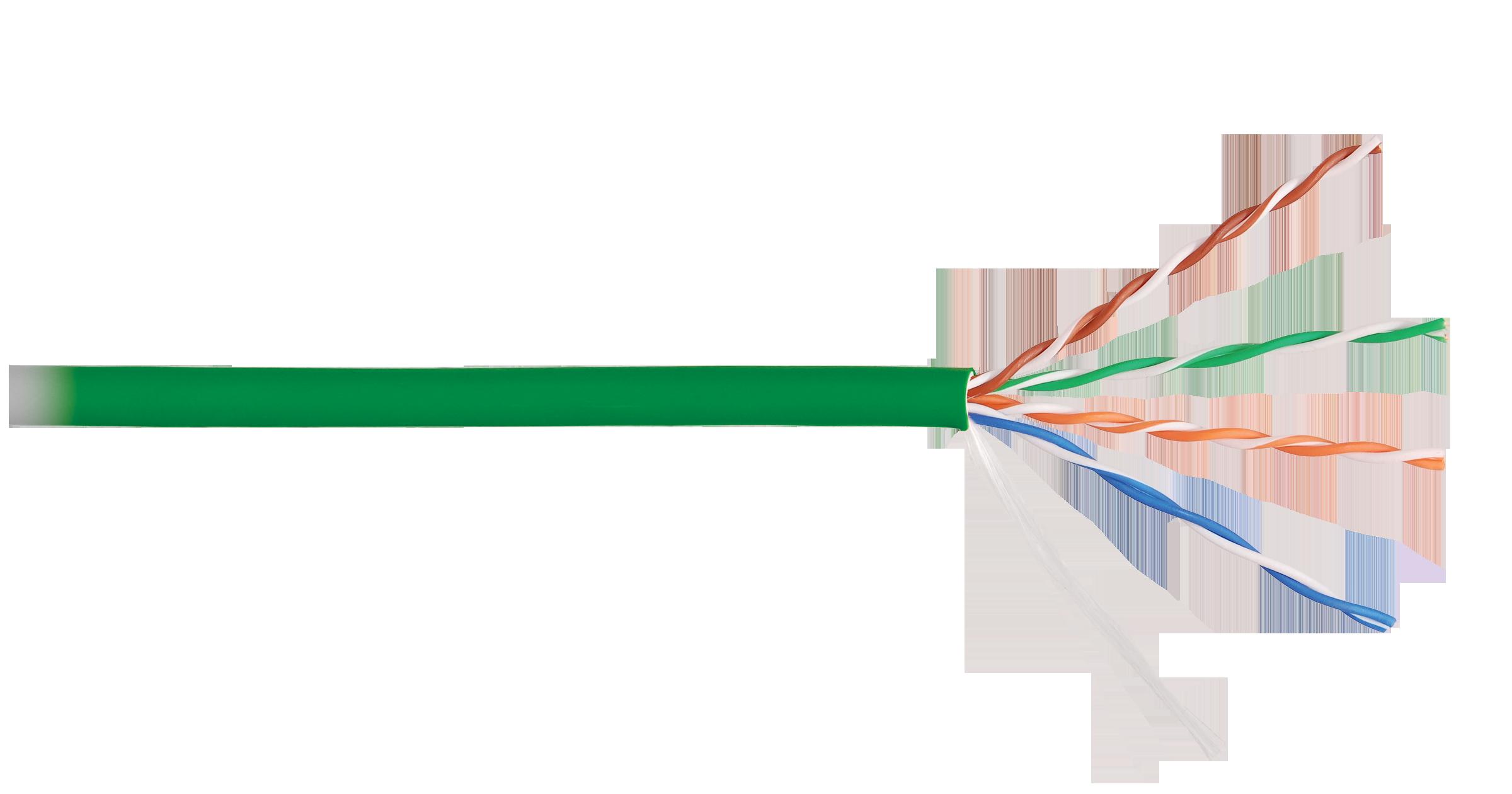 Кабель NIKOLAN U/UTP 4 пары, Кат.5e (Класс D), тест по ISO/IEC, 100МГц, одножильный, BC (чистая медь), 24AWG (0,511мм), внутренний, LSZH нг(А)-HFLTx, зеленый, 305м - гарантия: 5 лет расширенная / 25 лет системная