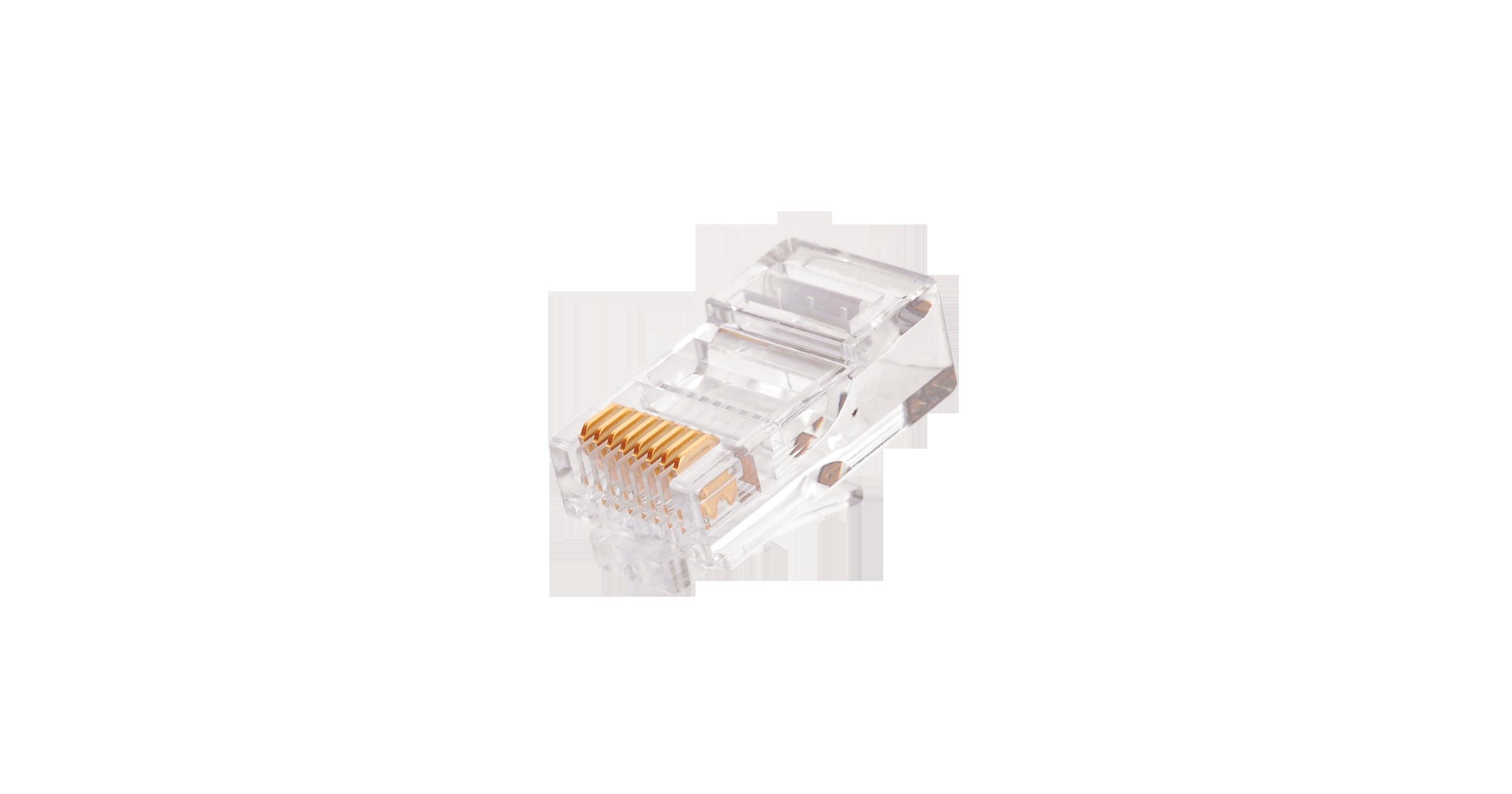 Коннектор NIKOMAX RJ45/8P8C под витую пару, Кат.5e (Класс D), 100МГц, покрытие 50мкд, под многожильный кабель, неэкранированный, уп-ка 100шт.