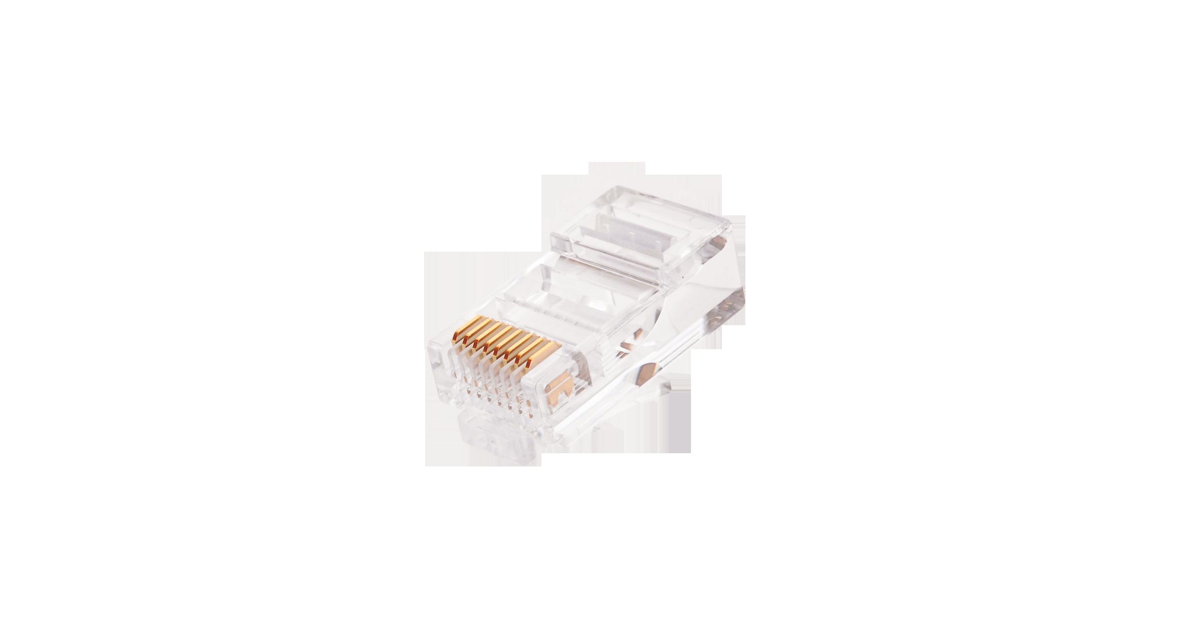 Коннектор NIKOMAX RJ45/8P8C под витую пару, Кат.5e (Класс D), 100МГц, покрытие 6мкд, под многожильный кабель, неэкранированный, уп-ка 100шт.