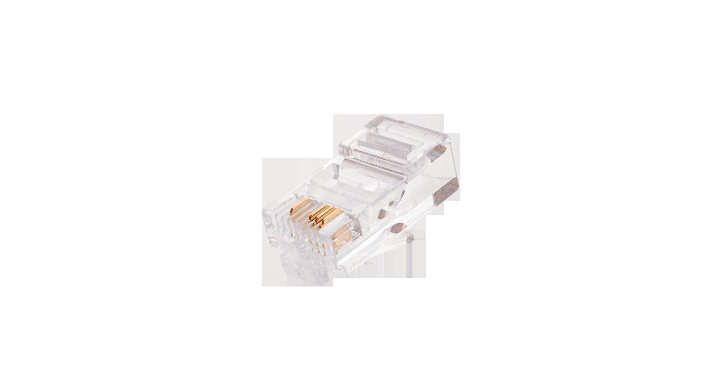 Коннектор NIKOMAX RJ45/8P4C под витую пару, Кат.5 (Класс D), 100МГц, покрытие 6мкд, под многожильный кабель, неэкранированный, Ethernet-разводка (контакты 1,2,3,6), уп-ка 100шт.