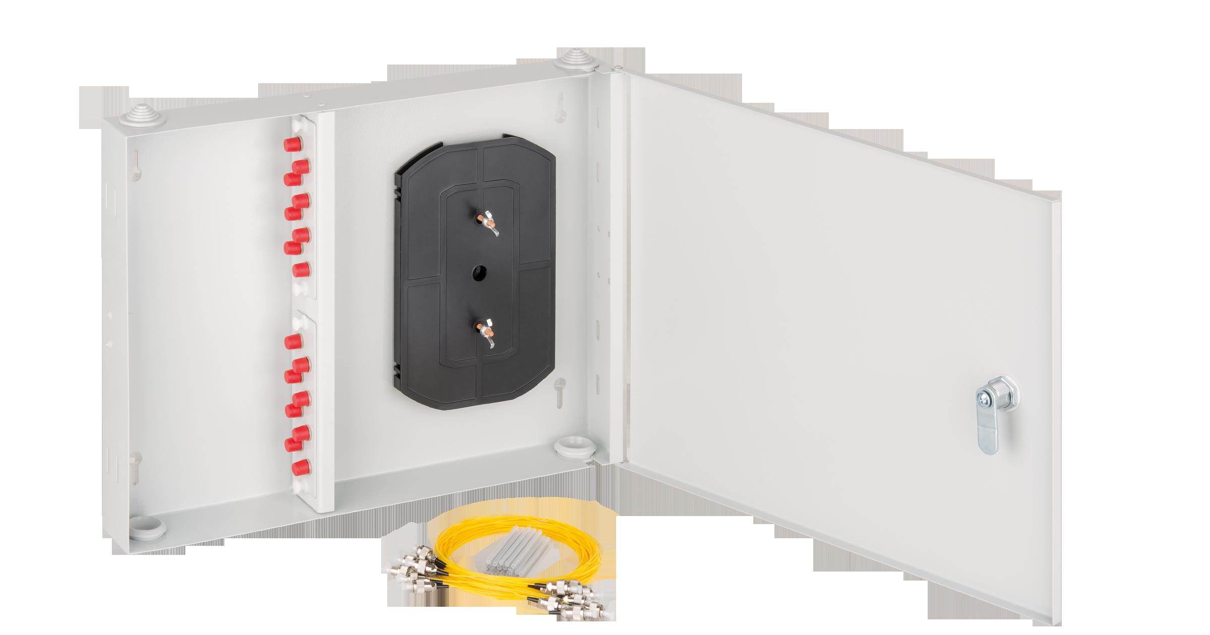 Оптический кросс NIKOMAX настенный, укомплектованный на 16 портов FC/UPC, SM 9/125 OS2, стальной, с ключом, серый, в комплекте: адаптеры, монтажные шнуры 1м, сплайс-кассета с крышкой и КДЗС
