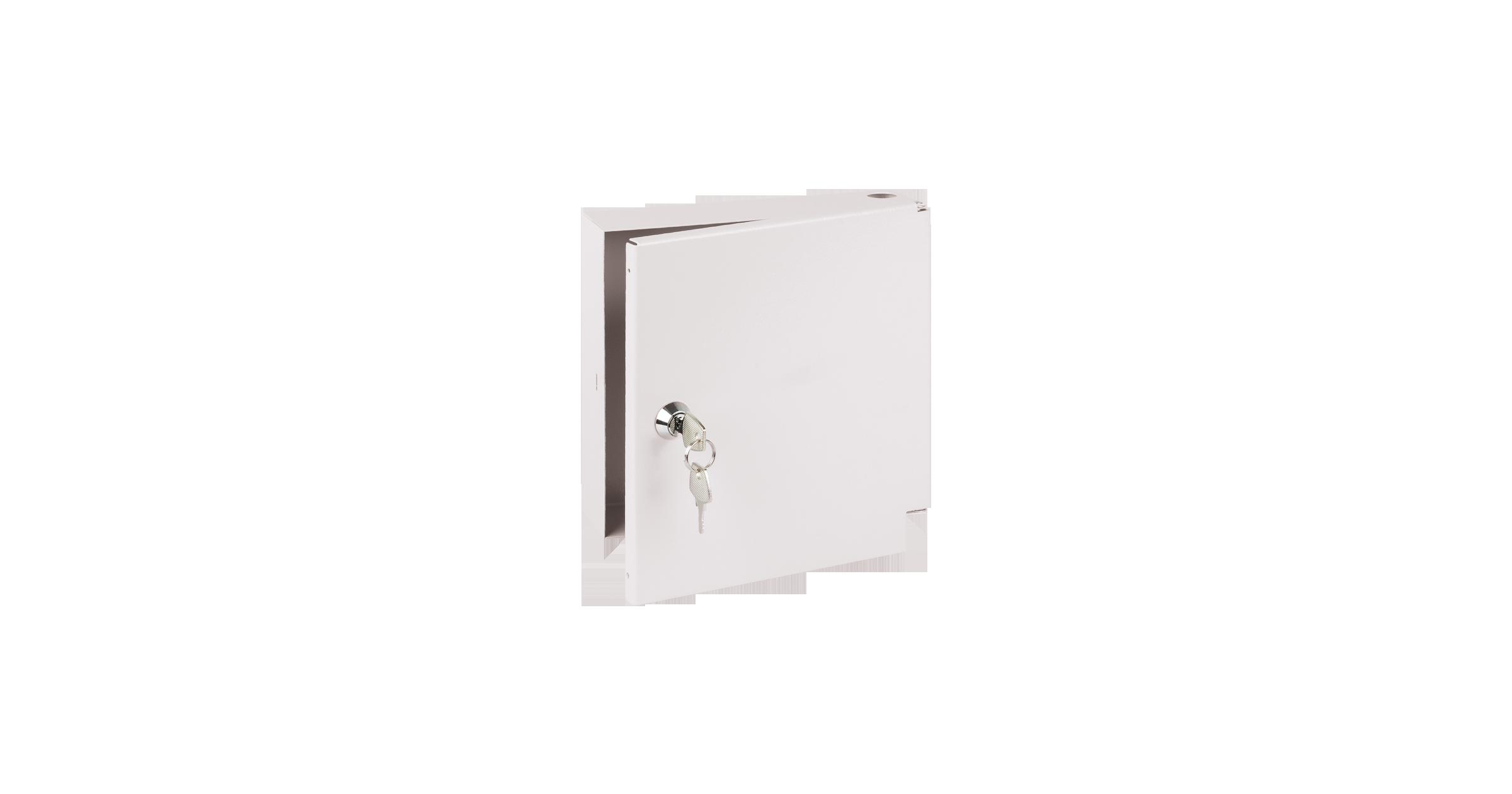 Оптический кросс NIKOMAX настенный, до 8 SC/FC портов или 16 LC портов, стальной, с ложементом, с ключом, серый, неукомплектованный