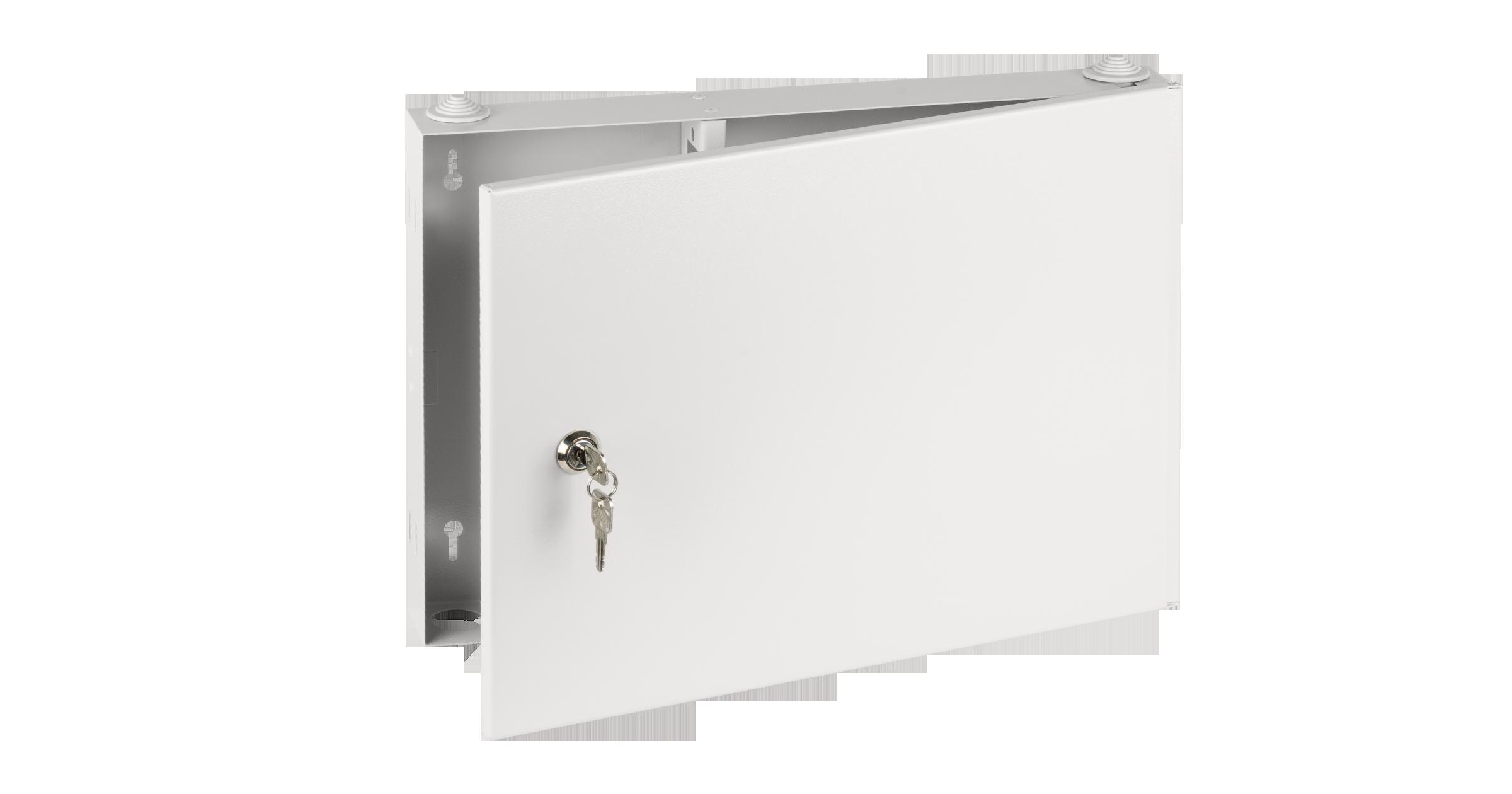 Оптический кросс NIKOMAX настенный, до 16 SC/FC портов или 32 LC портов, стальной, с ключом, серый, неукомплектованный