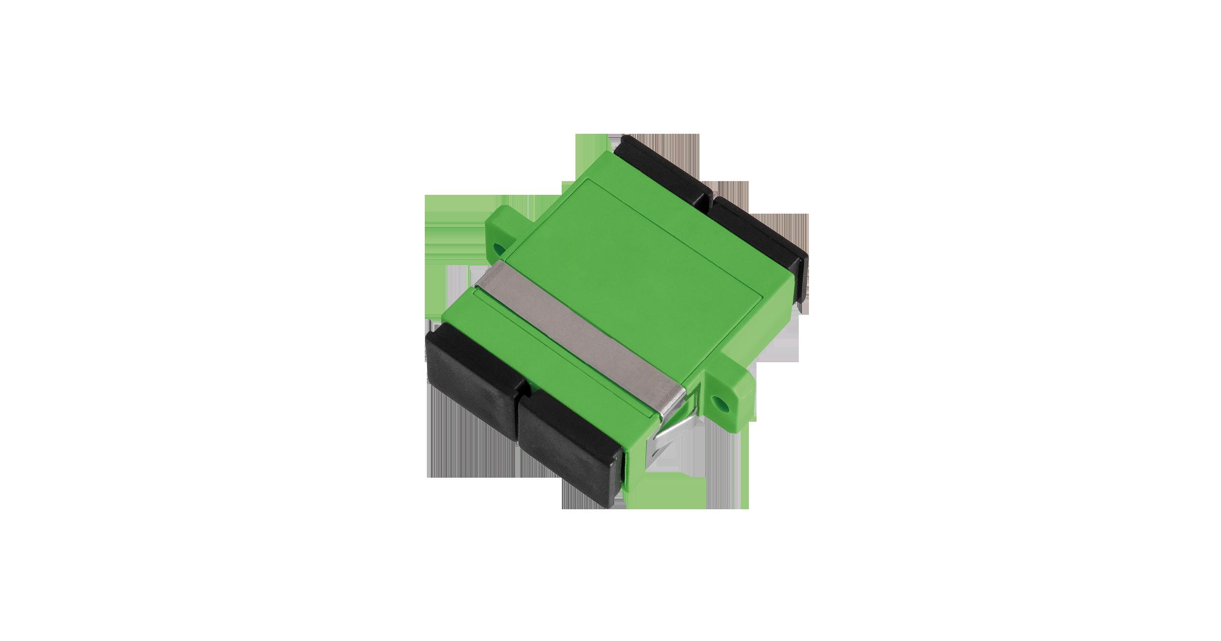 Адаптер NIKOMAX волоконно-оптический, соединительный, одномодовый, SC/APC-SC/APC, двойной, пластиковый, зеленый, уп-ка 2шт.