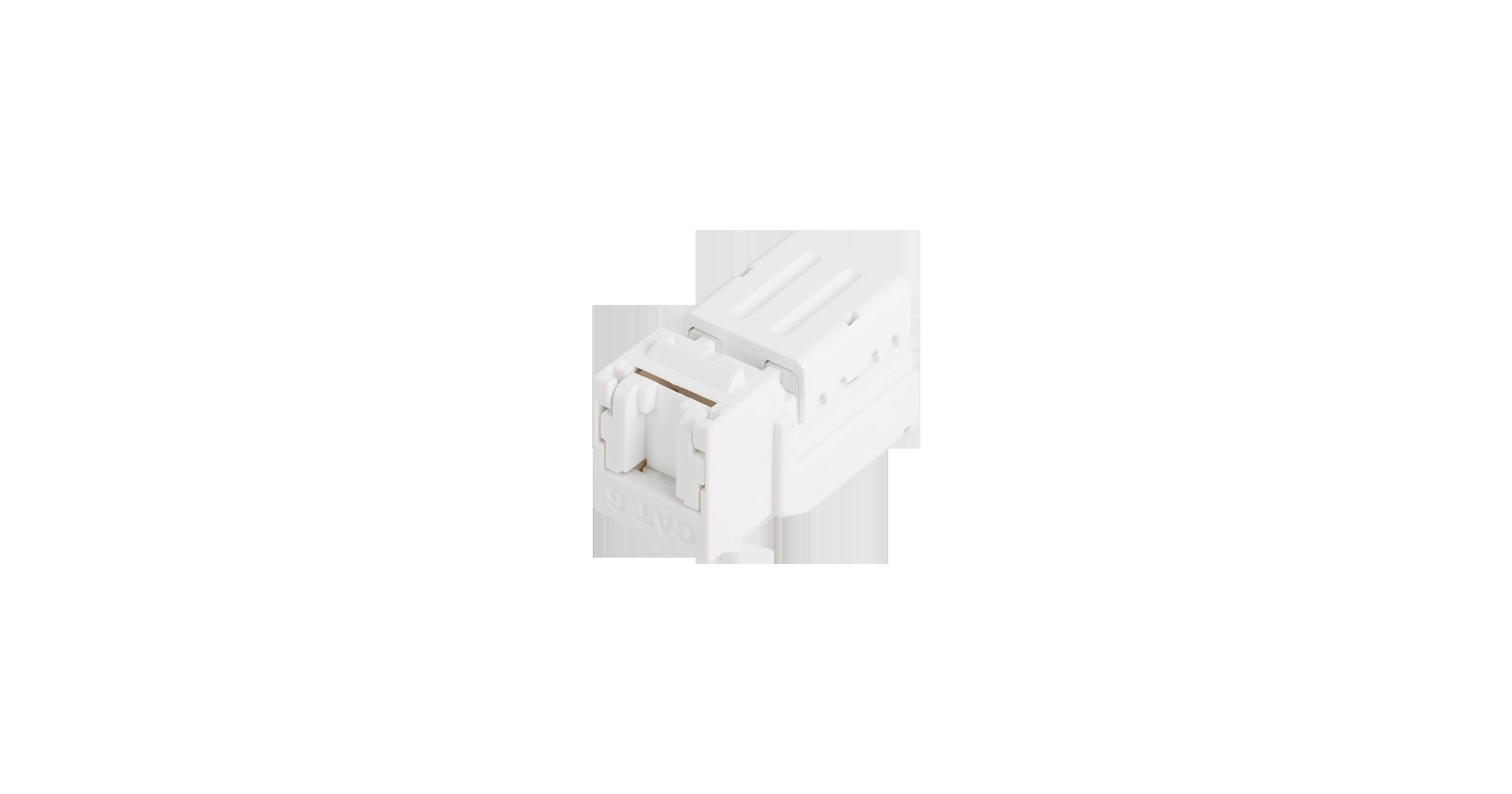 Модуль-вставка NIKOMAX типа Keystone, Кат.6 (Класс E), 250МГц, RJ45/8P8C, FT-TOOL/110/KRONE, T568A/B, неэкранированный, со шторкой, белый - гарантия: 5 лет расширенная / 25 лет системная