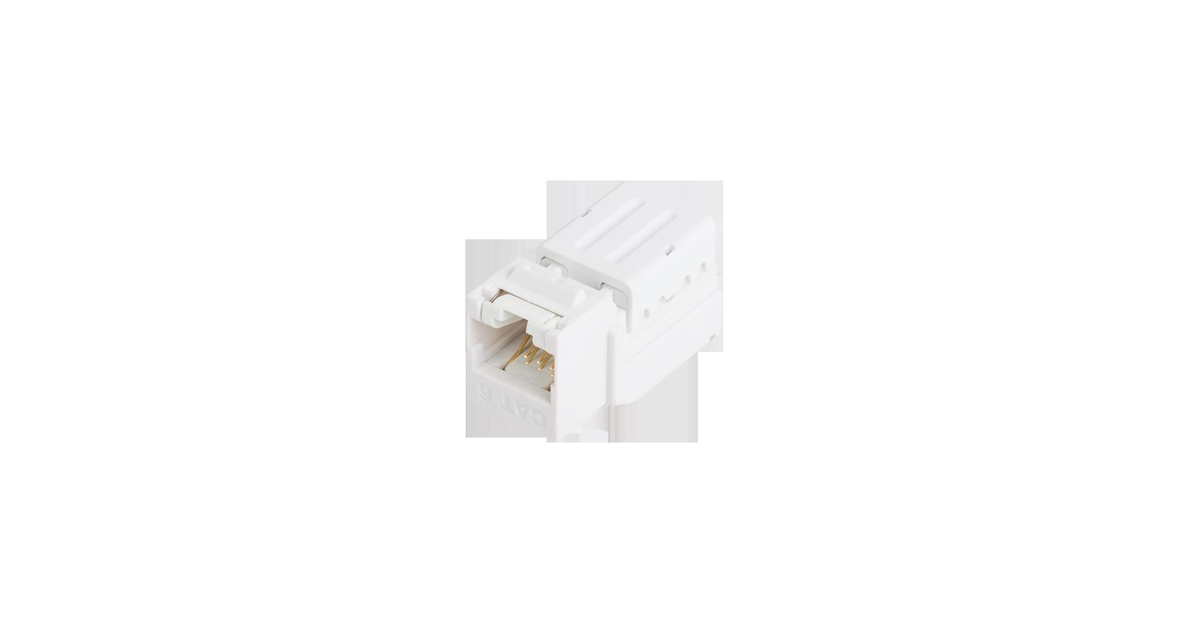 Модуль-вставка NIKOMAX типа Keystone, Кат.5е (Класс D), 100МГц, RJ45/8P8C, FT-TOOL/110/KRONE, T568A/B, неэкранированный, со шторкой, белый - гарантия: 5 лет расширенная / 25 лет системная