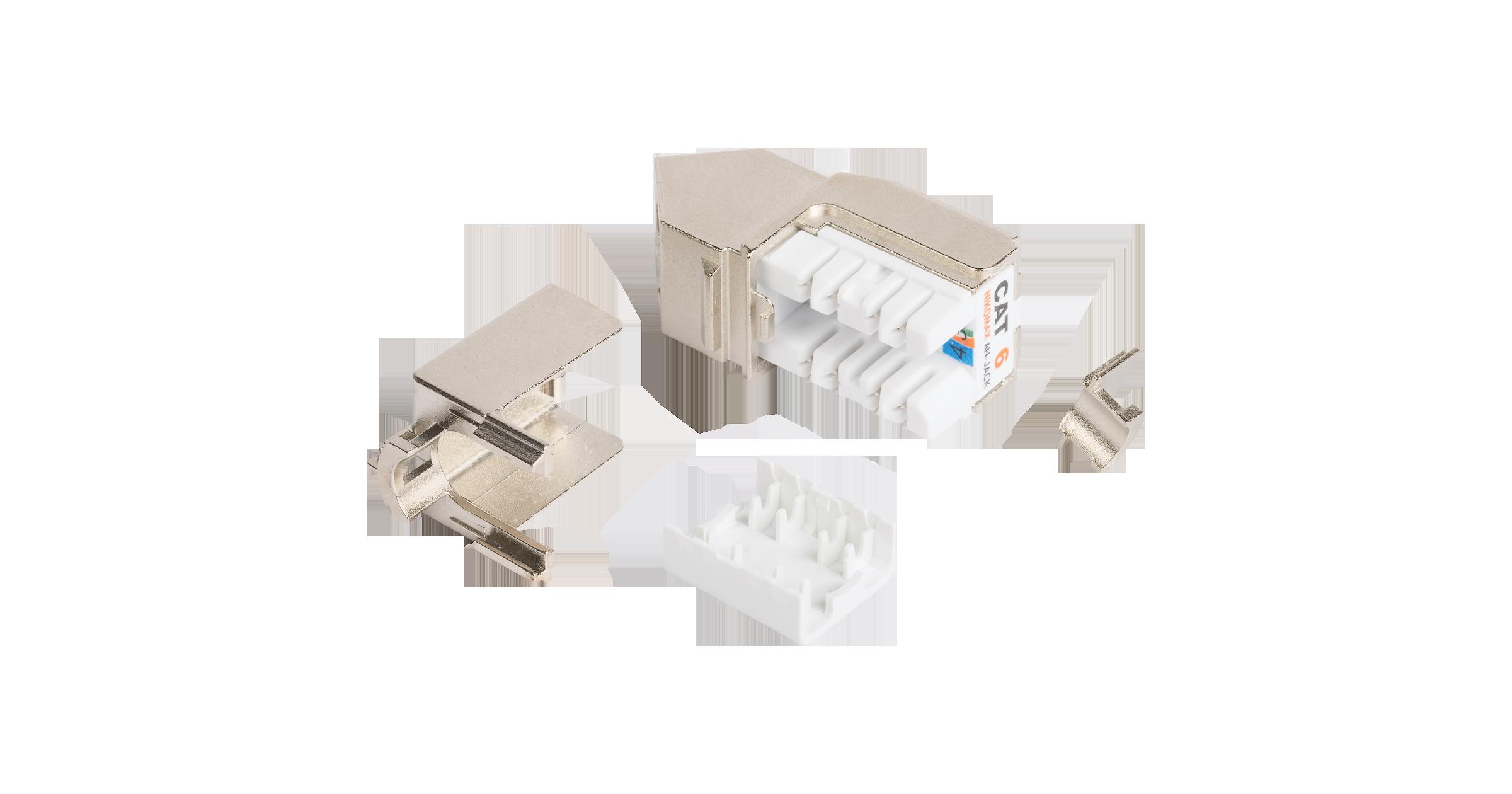 Модуль-вставка NIKOMAX типа Keystone, угловой, для панели серии AN, Кат.6 (Класс E), 250МГц, RJ45/8P8C, FT-TOOL/110/KRONE, T568A/B, полный экран, металлик - гарантия: 5 лет расширенная / 25 лет системная