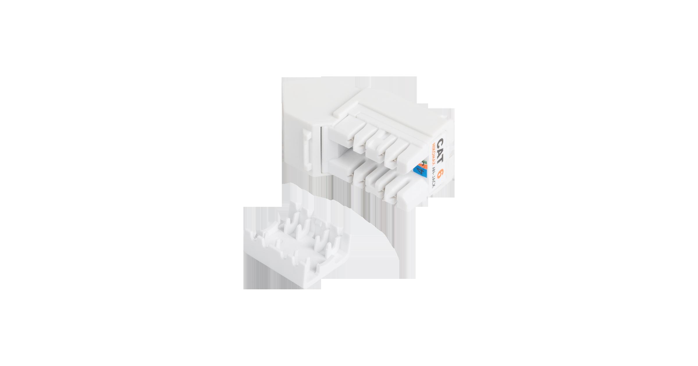 Модуль-вставка NIKOMAX типа Keystone, угловой, для панели серии AN, Кат.6 (Класс E), 250МГц, RJ45/8P8C, FT-TOOL/110/KRONE, T568A/B, неэкранированный, белый - гарантия: 5 лет расширенная / 25 лет системная