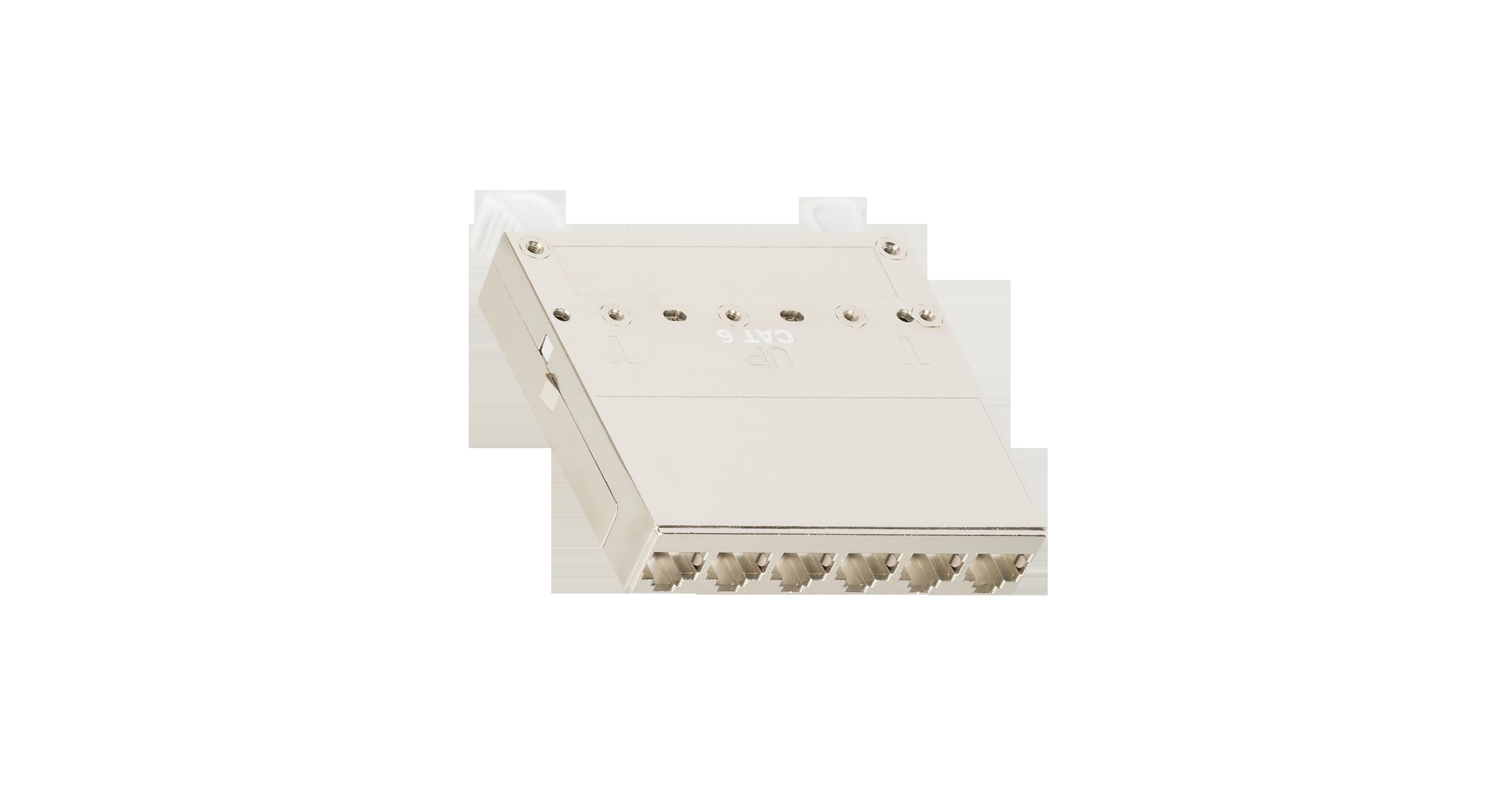 Кассетный модуль-вставка NIKOMAX, для панели серии CJ, 1 слот, 6 портов, Кат.6a (Класс Ea), 500МГц, RJ45/8P8C, 110/KRONE, T568A/B, полный экран, металлик - гарантия: 5 лет расширенная / 25 лет системная