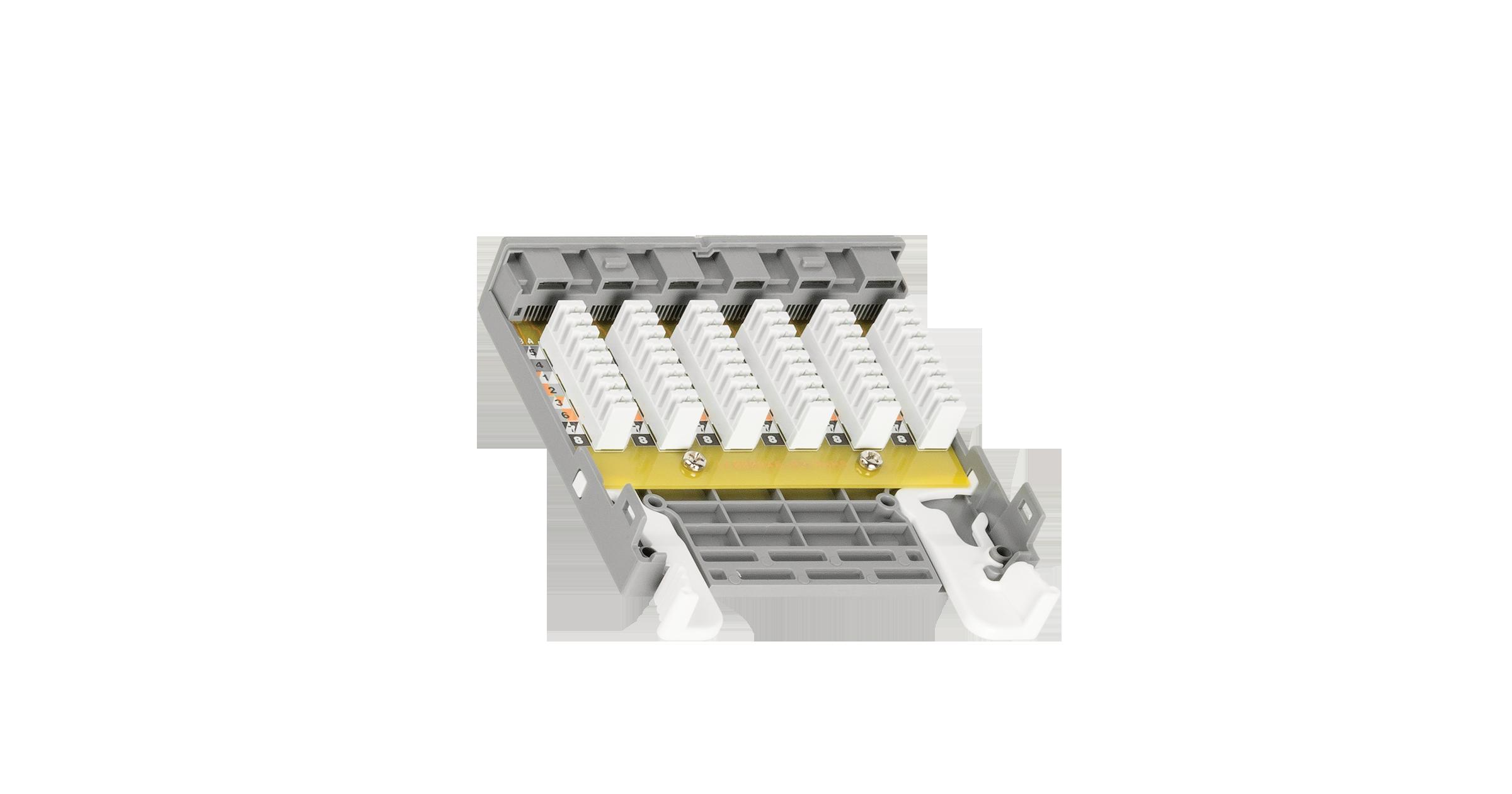 Кассетный модуль-вставка NIKOMAX, для панели серии CJ, 1 слот, 6 портов, Кат.6 (Класс E), 250МГц, RJ45/8P8C, 110/KRONE, T568A/B, неэкранированный, серый - гарантия: 5 лет расширенная / 25 лет системная