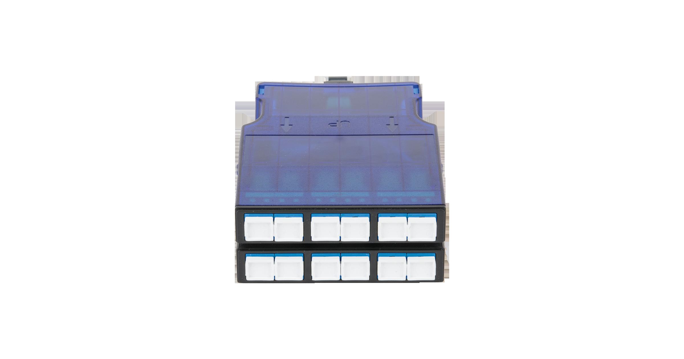 Кассета NIKOMAX волоконно-оптическая, для панели серии CJ, 2 слота, одномодовая 9/125 мкм, стандарта OS2, 1x MTP/male - 12x SC/UPC, поляризация А, премиум