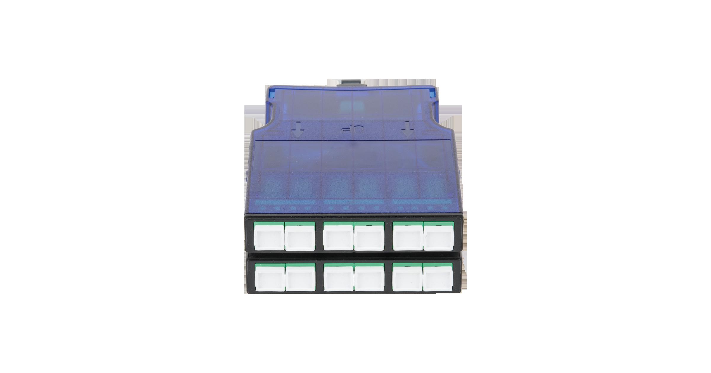 Кассета NIKOMAX волоконно-оптическая, для панели серии CJ, 2 слота, одномодовая 9/125 мкм, стандарта OS2, 1x MTP/male - 12x SC/APC, поляризация А, премиум
